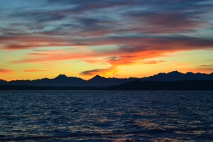 Sunset on the way back to Port Townsend Saturday night.
